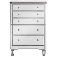 Chamberlan Silver Cabinet, 5-Drawer, Clear Mirror