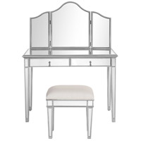 Chamberlan Silver Vanity Table Set, set of 3 (Table, Stool, & Mirror), Clear Mirror