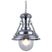 Industrial 1 Light 18 inch Chrome Pendant Ceiling Light, Urban Classic