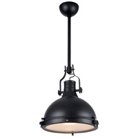 Industrial 1 Light 16 inch Black Pendant Ceiling Light
