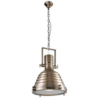 Urban Classic by Elegant Lighting Industrial 1 Light Pendant in Antique Brass PD1227