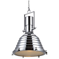 Urban Classic by Elegant Lighting Industrial 1 Light Pendant in Chrome PD1228