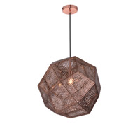 Elegant Lighting PD2055 Kronos 1 Light 19 inch Copper Pendant Ceiling Light Urban Classic