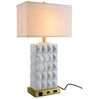 Elegant Lighting TL3001 Brio 28 inch 40 watt Brushed Brass and White Table Lamp Portable Light, with USB Port and Power Outlet