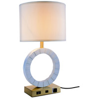 Elegant Lighting TL3002 Brio 24 inch 40 watt Brushed Brass and White Table Lamp Portable Light, with USB Port and Power Outlet