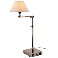 Elegant Lighting TL3006 Brio 33 inch 40 watt Polished Nickel Table Lamp Portable Light, with USB Port and Power Outlet