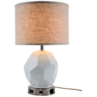 Elegant Lighting TL3007 Brio 23 inch 40 watt Polished Nickel Table Lamp Portable Light, with USB Port and Power Outlet