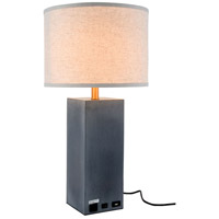 Elegant Lighting TL3008 Brio 27 inch 40 watt Concrete Table Lamp Portable Light, with USB Port and Power Outlet