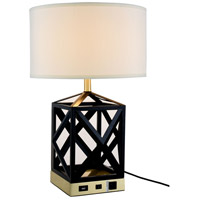 Elegant Lighting TL3009 Brio 24 inch 40 watt Black Table Lamp Portable Light, with USB Port and Power Outlet