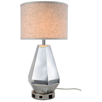 Elegant Lighting TL3012 Brio 28 inch 40 watt Polished Nickel Table Lamp Portable Light, with USB Port and Power Outlet