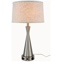 Elegant Lighting TL3014 Brio 26 inch 40 watt Vintage Nickel Table Lamp Portable Light, with USB Port and Power Outlet