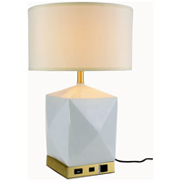Elegant Lighting TL3015 Brio 24 inch 40 watt Brushed Brass and White Table Lamp Portable Light, with USB Port and Power Outlet
