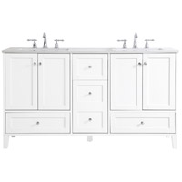 Elegant Lighting VF18060DWH Sommerville White and Brushed Nickel with Calacatta Quartz Vanity Sink Set