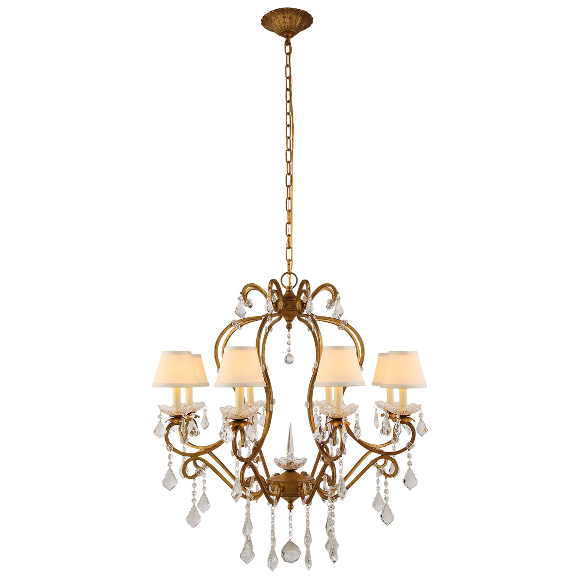 Details About Crystal Chandelier Golden Wrought Iron Lamp Shades Kitchen Lighting 8 Light 34