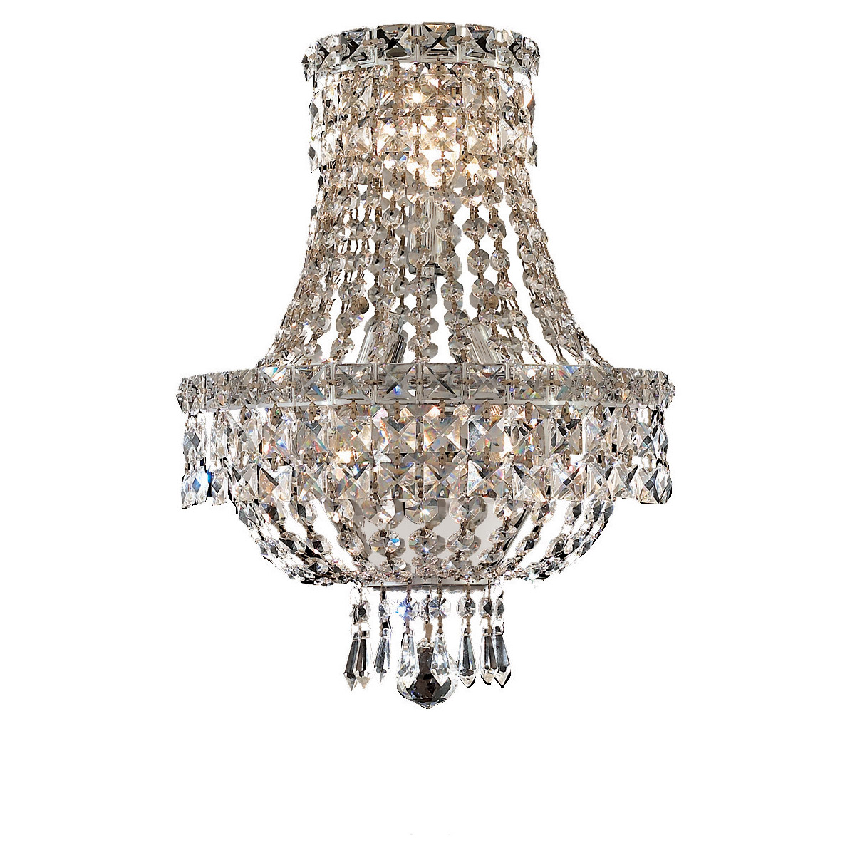 French Empire 17 Chrome Made With Swarovski Crystal Wall Sconce
