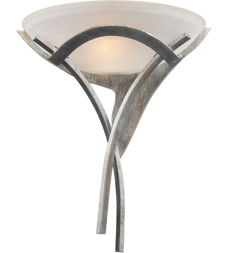 ELK 001-TS Aurora 1 Light 16 inch Tarnished Silver Sconce Wall Light in White Faux Alabaster Glass, Incandescent photo