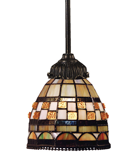 ELK 078-TB-10 Mix-N-Match 1 Light 6 inch Tiffany Bronze Pendant Ceiling Light in Tiffany 10 Glass, Incandescent photo