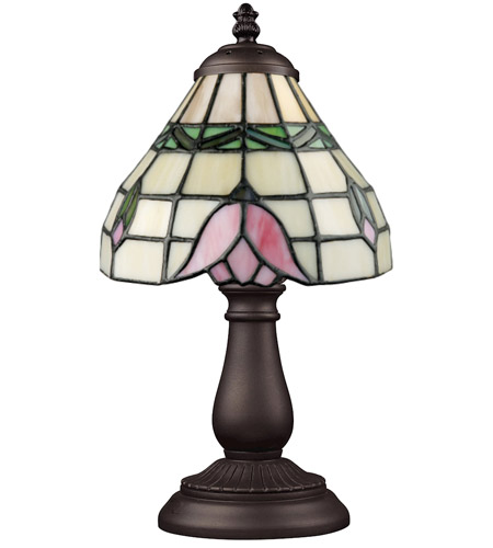 ELK 080-TB-09 Mix-N-Match 13 inch 60 watt Tiffany Bronze Table Lamp Portable Light in Tiffany 09 Glass photo