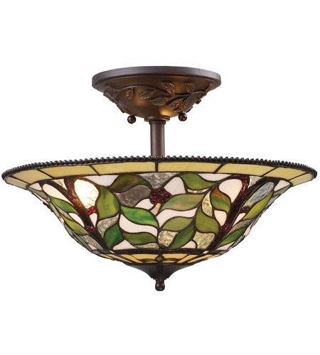 ELK 08015-TBH Latham 3 Light 16 inch Tiffany Bronze with Highlights Semi Flush Mount Ceiling Light photo