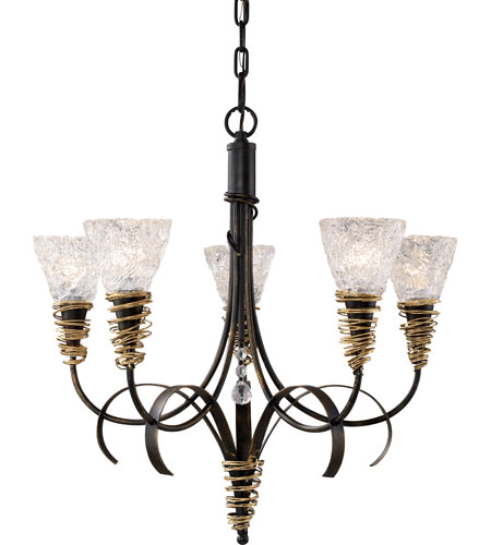 ELK Lighting Equinox 5 Light Chandelier in Black W/ Gold Highlights 08046-BKG photo
