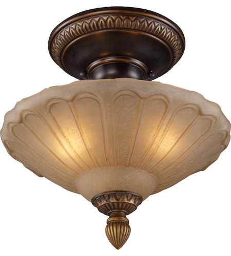 ELK 08092-AGB Restoration 3 Light 12 inch Golden Bronze Semi Flush Mount Ceiling Light photo