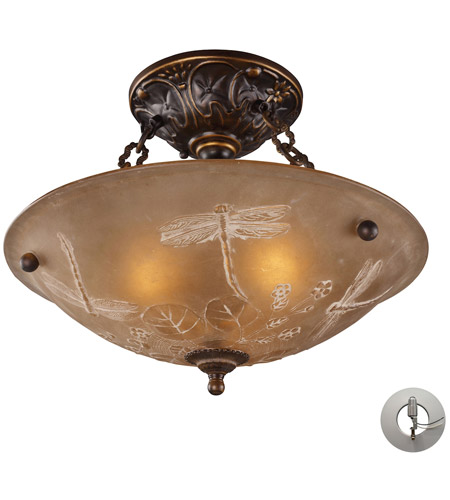 ELK 08096-AGB-LA Restoration 3 Light 16 inch Golden Bronze Semi-Flush Mount Ceiling Light in Recessed Adapter Kit photo