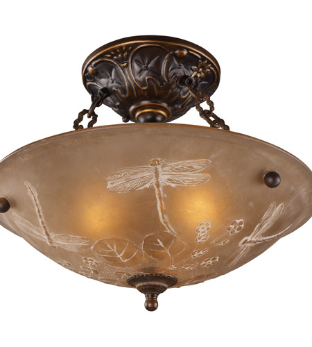 ELK 08096-AGB Restoration 3 Light 16 inch Golden Bronze Semi Flush Mount Ceiling Light in Standard photo