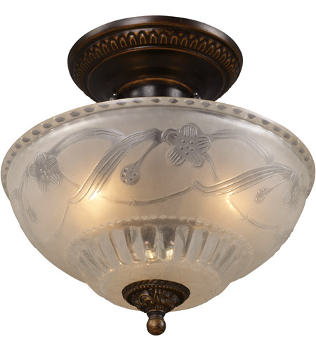 ELK 08098-AGB Restoration 3 Light 11 inch Golden Bronze Semi Flush Mount Ceiling Light in Standard photo