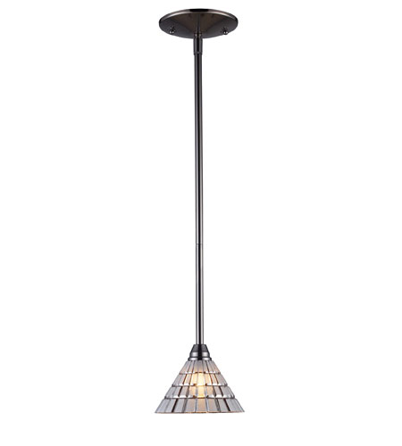 ELK 10046/1 VISEU 1 Light 5 inch Black Chrome Pendant Ceiling Light photo