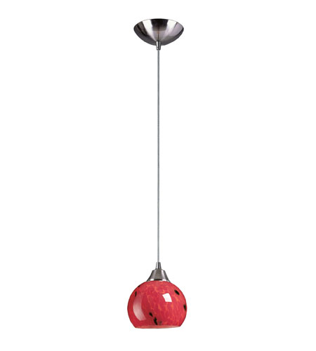 ELK 101-1FR Mela 1 Light 6 inch Satin Nickel Pendant Ceiling Light in Incandescent, Fire Red Glass, Standard photo