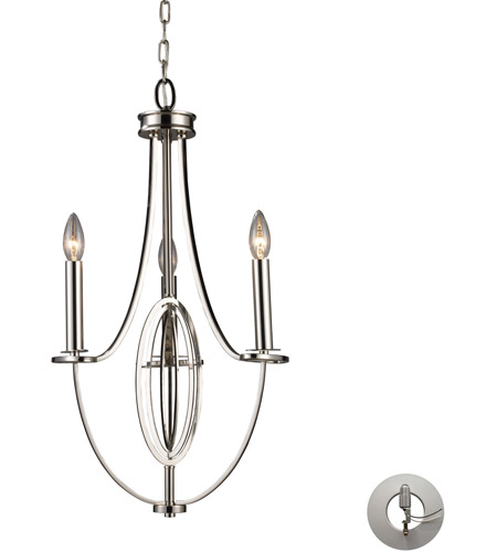 ELK 10120/3-LA Dione 3 Light 12 inch Polished Nickel Chandelier Ceiling Light in Recessed Adapter Kit photo