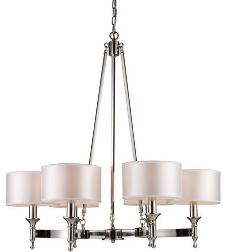 ELK Lighting Pembroke 6 Light Chandelier in Polished Nickel 10123/6 photo