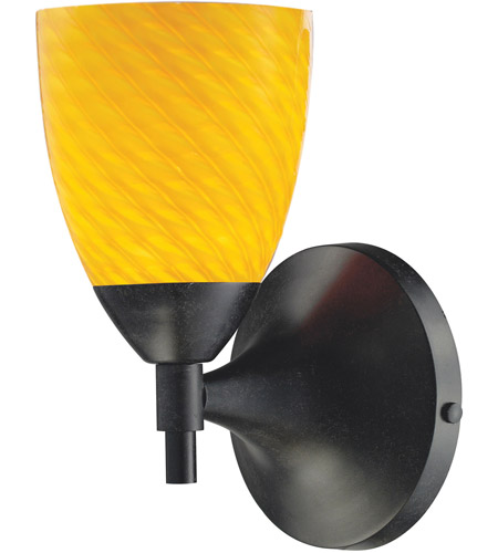 ELK 10150/1DR-CN Celina 1 Light 6 inch Dark Rust Sconce Wall Light in Standard, Canary Glass photo