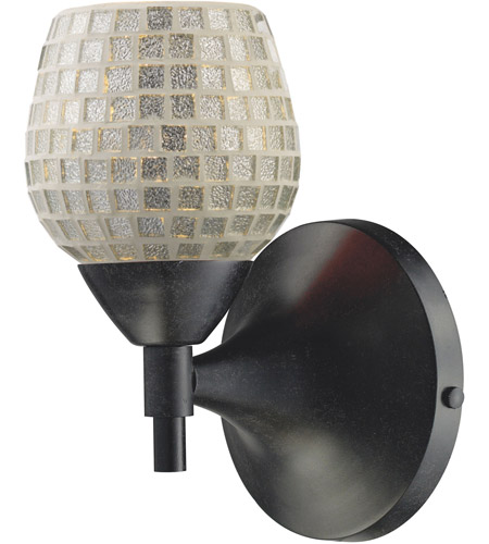 ELK 10150/1DR-SLV Celina 1 Light 6 inch Dark Rust Sconce Wall Light in Standard, Silver Mosaic Glass photo