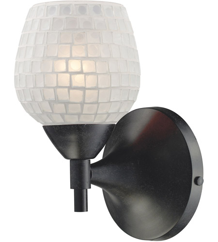ELK 10150/1DR-WHT Celina 1 Light 6 inch Dark Rust Sconce Wall Light in Standard, White Mosaic Glass photo