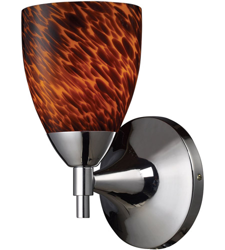 ELK 10150/1PC-ES Celina 1 Light 6 inch Polished Chrome Sconce Wall Light in Standard, Espresso Glass photo