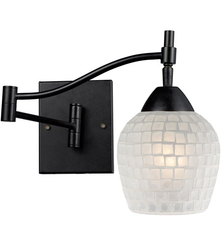 ELK 10151/1DR-WHT Celina 22 inch 60 watt Dark Rust Swingarm Wall Light in Standard, White Mosaic Glass photo