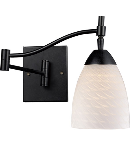 ELK 10151/1DR-WS Celina 22 inch 60 watt Dark Rust Swingarm Wall Light in Standard, White Swirl Glass photo