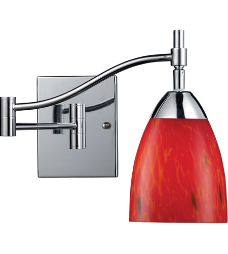 ELK 10151/1PC-FR Celina 22 inch 60 watt Polished Chrome Swingarm Wall Light in Standard, Fire Red Glass photo