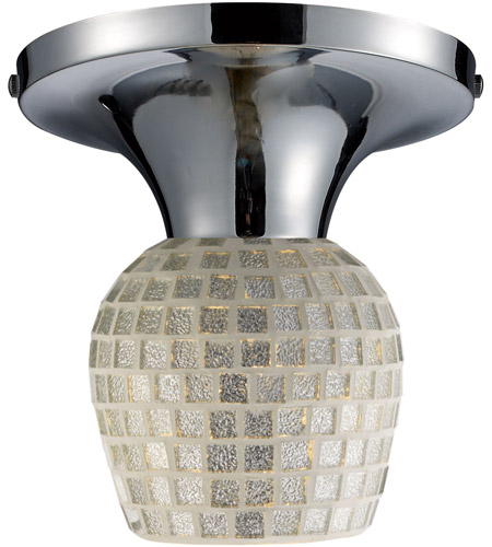 ELK 10152/1PC-SLV Celina 1 Light 7 inch Polished Chrome Semi-Flush Mount Ceiling Light in Incandescent, Silver Mosaic Glass, Standard photo