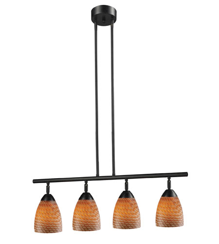 ELK 10153/4DR-C Celina 4 Light 30 inch Dark Rust Island Light Ceiling Light in Standard, Cocoa Glass photo