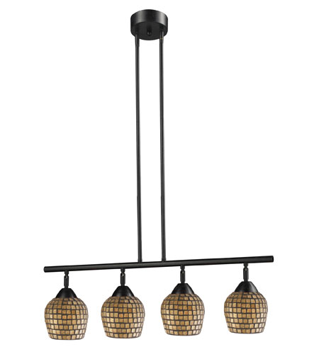ELK 10153/4DR-GLD Celina 4 Light 30 inch Dark Rust Island Light Ceiling Light in Standard, Gold Leaf Mosaic Glass photo