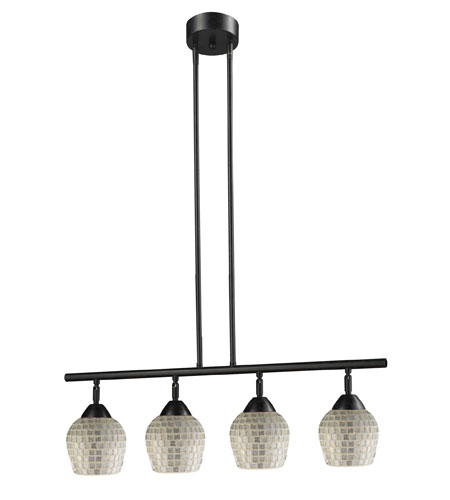 ELK 10153/4DR-SLV Celina 4 Light 30 inch Dark Rust Island Light Ceiling Light in Standard, Silver Mosaic Glass photo