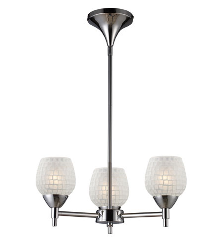 ELK 10154/3PC-WHT Celina 3 Light 18 inch Polished Chrome Chandelier Ceiling Light in Incandescent, White Mosaic Glass, Standard photo
