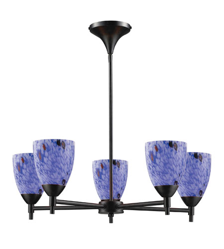 ELK 10155/5DR-BL Celina 5 Light 28 inch Dark Rust Chandelier Ceiling Light in Standard, Starburst Blue Glass photo