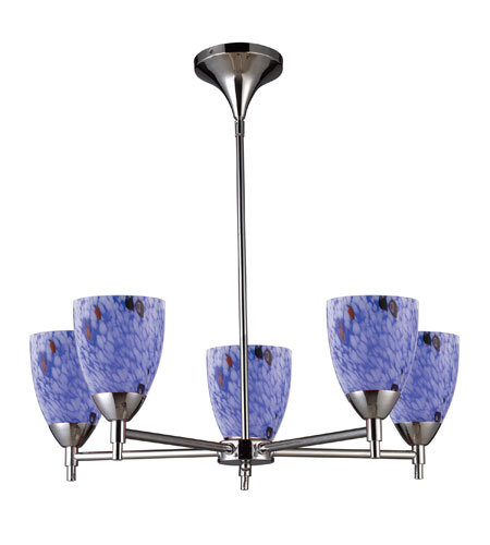 ELK 10155/5PC-BL Celina 5 Light 28 inch Polished Chrome Chandelier Ceiling Light in Standard, Starburst Blue Glass photo
