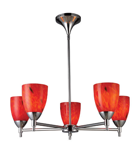 ELK 10155/5PC-FR Celina 5 Light 28 inch Polished Chrome Chandelier Ceiling Light in Standard, Fire Red Glass photo