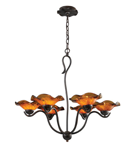 ELK Lighting Villa 6 Light Chandelier in Weathered Rust 10184/6AMB photo
