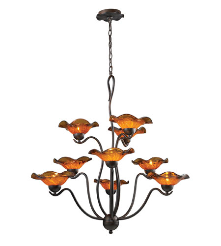 ELK Lighting Villa 9 Light Chandelier in Weathered Rust 10186/9AMB photo