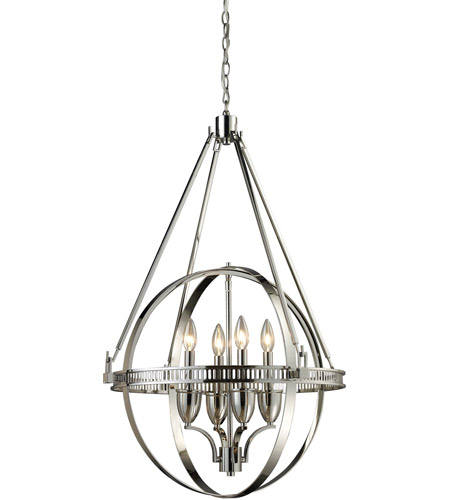 ELK 10192/4 Hemispheres 4 Light 24 inch Polished Nickel Chandelier Ceiling Light photo
